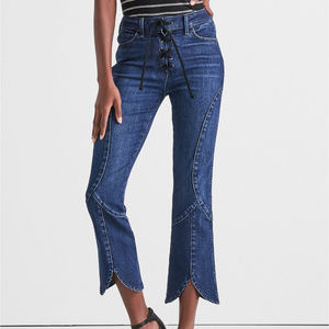 Lucky Brand Lace Up Crop Flare Jean